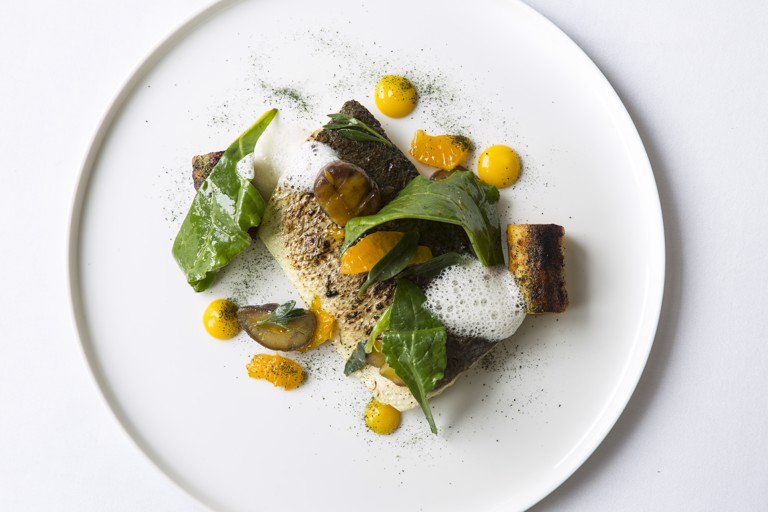 Sea bass and seaweed dumplings with clemintines, chestnuts and lemon foam