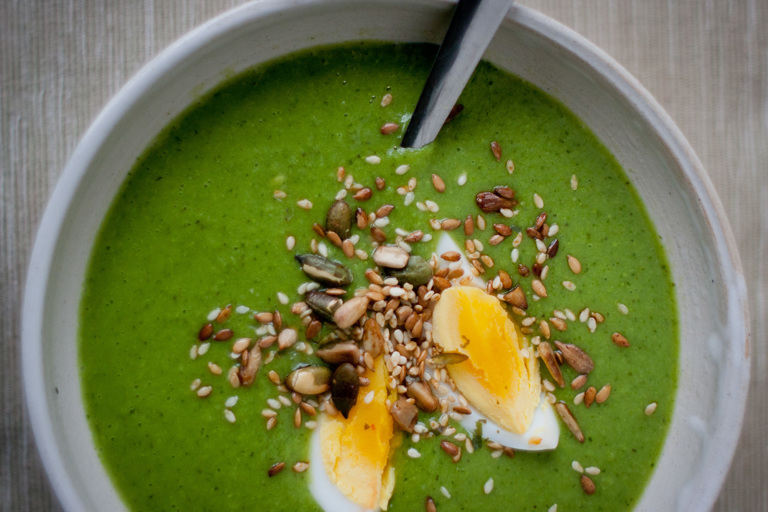 Minted pea and watercress soup