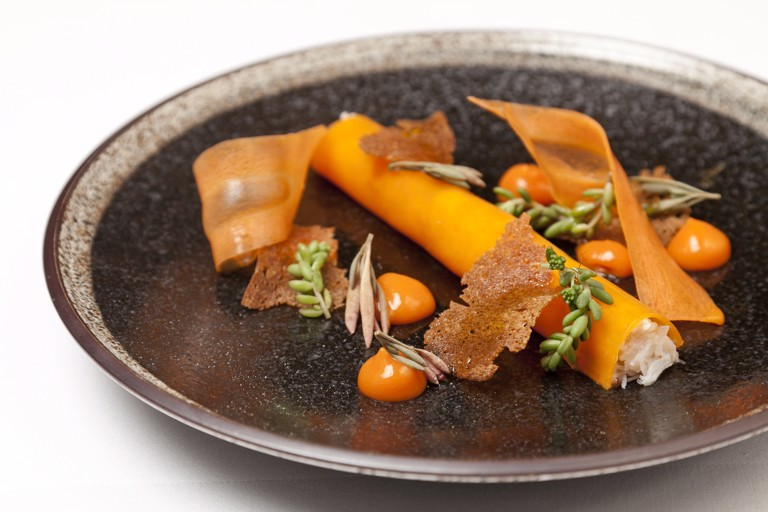 Dorset crab, sea buckthorn and carrot