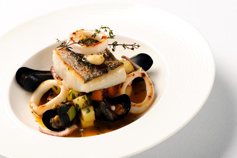 Cornish salt pollock, squid and mussel stew