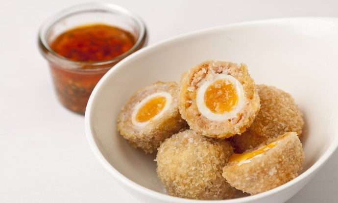 Scotch eggs with bois boudran dipping sauce