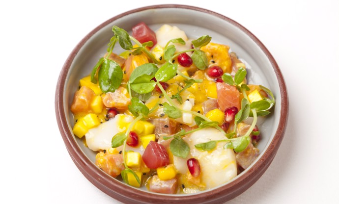Scallop, tuna and salmon ceviche with mango