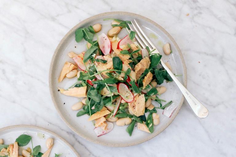 Summer mange tout, radish and tuna salad