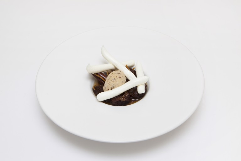 Prune mustard and pistachio ice cream with prunes and Armagnac