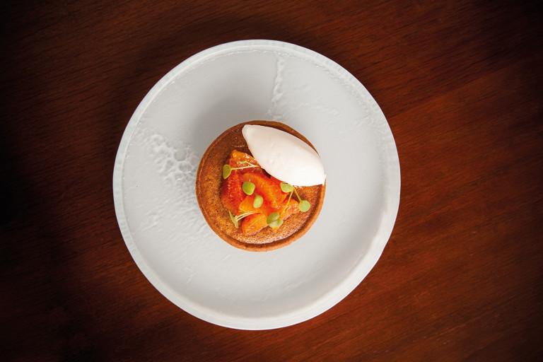Treacle tart with blood orange