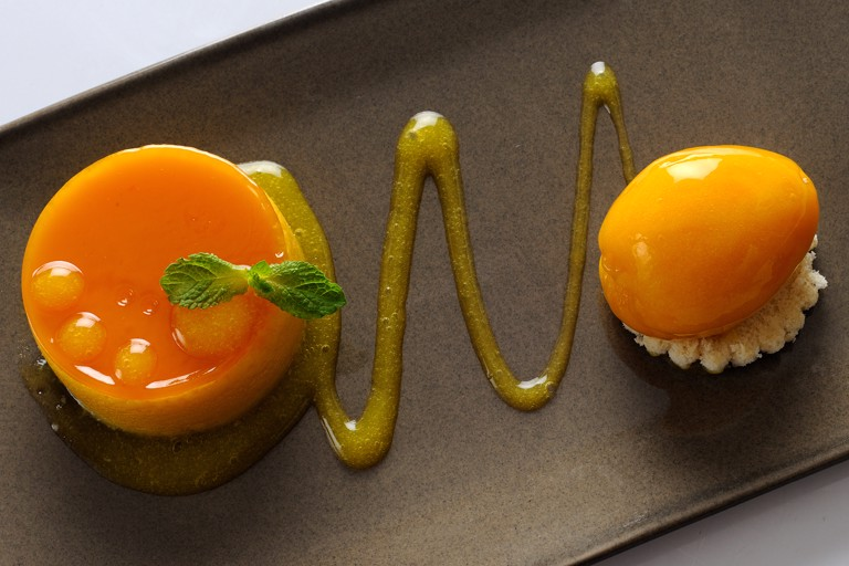 Mango bavarois with mango sorbet