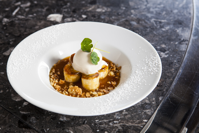 Platano Canario – caramelised bananas with ice cream and toffee sauce