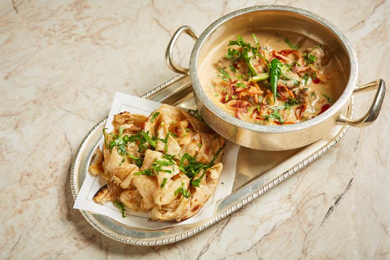 Kachi mirch ka gosht – venison and green peppercorn curry with parathas
