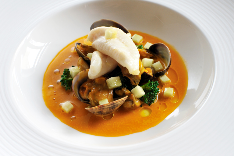 John Dory with clams, apple and curry