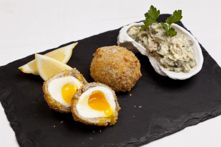 Smoked mackerel Scotch eggs with tartare sauce