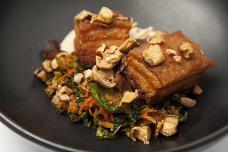 Pork belly, kimchi, smoked tofu, shiitake, peanuts