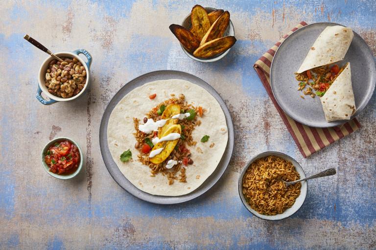 Roast plantain burrito
