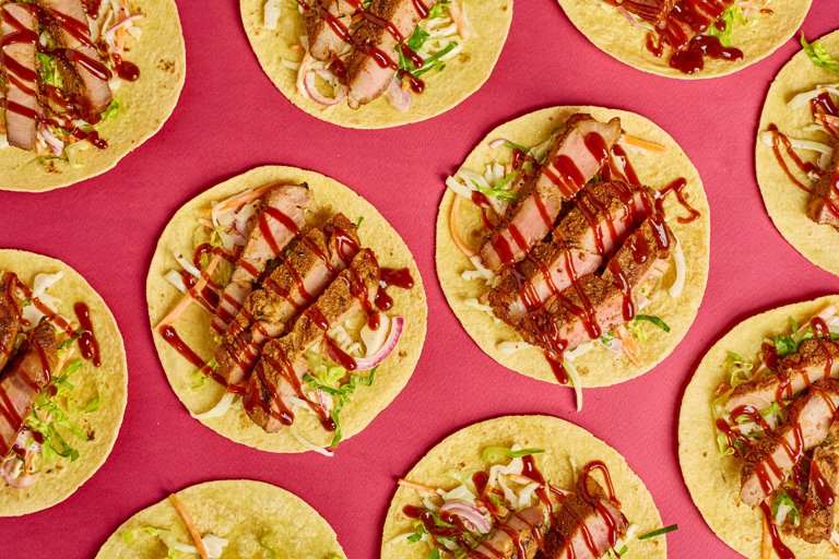 Memphis pork tacos with slaw and barbecue sauce