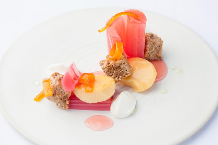 Rhubarb and custard with kumquat and crystallised ginger cake
