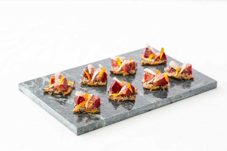 Caraway garibaldi, peach, dried venison