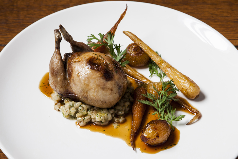 Richard's perfect roast dinner - stuffed Norfolk quail with Norfolk pearl barley