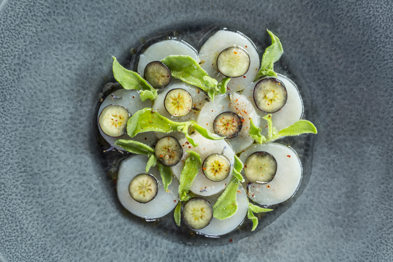 Scallops with pickled blueberries and lavender
