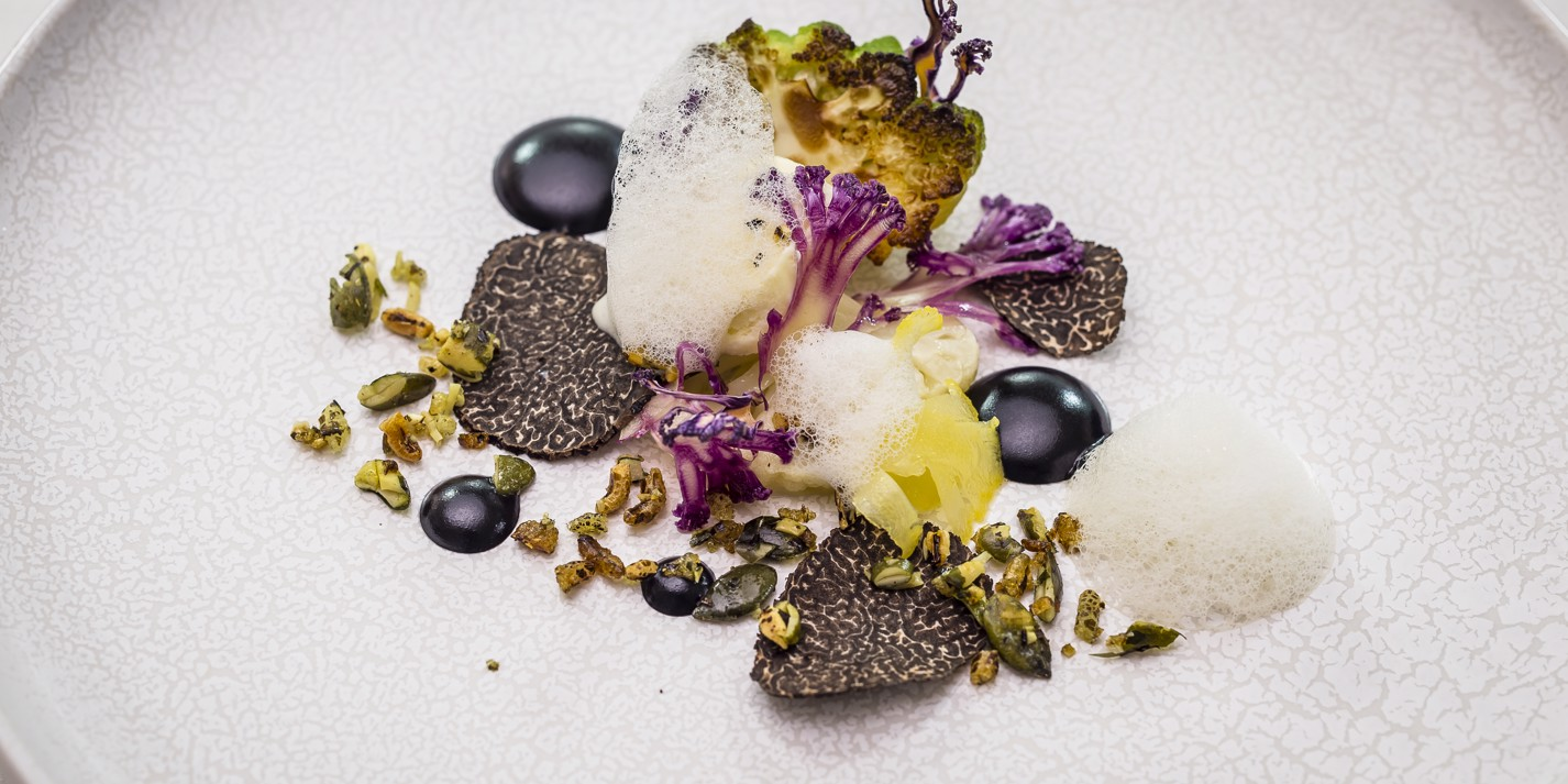 Purple, white and green cauliflower, grilled gouda, Australian truffle, Brillat-Savarin