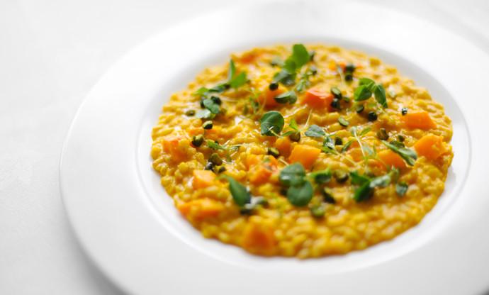 Spelt, barley and squash risotto