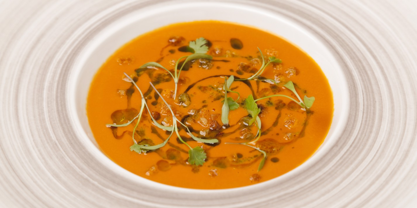 Smoked tomato and coriander soup