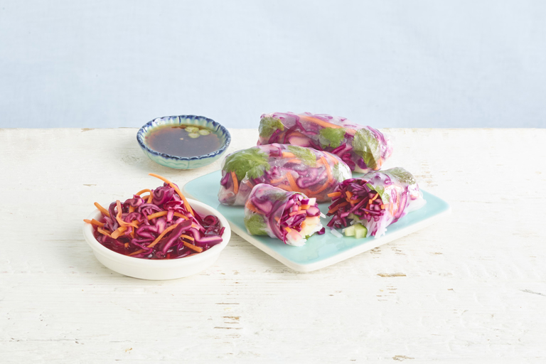 Chilli pickled red cabbage summer rolls
