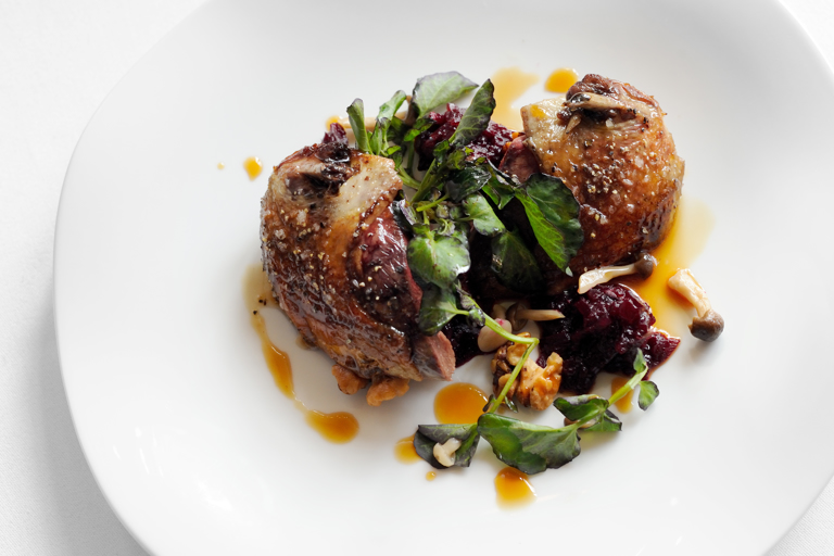 Warm salad of Alresford wood pigeon with caramelised walnuts and beetroot compote