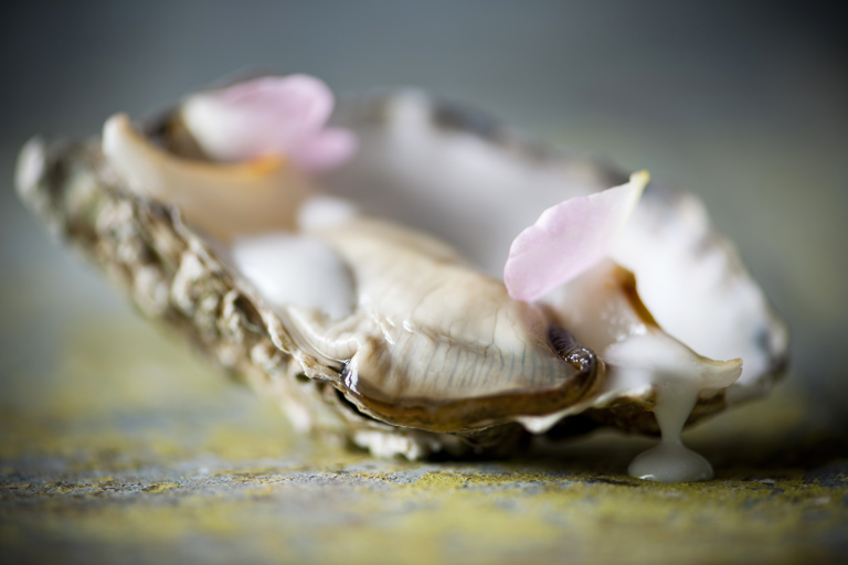 Oysters with coconut and lychee