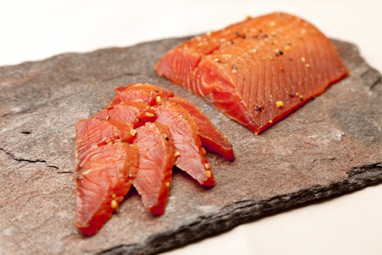 Maple-cured Alaska salmon