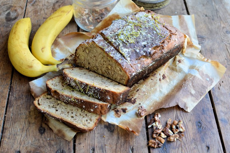Banana and walnut bread with a lime drizzle