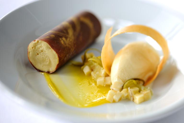 Banana and caramel parfait, peanut ice cream and kalamansi purée