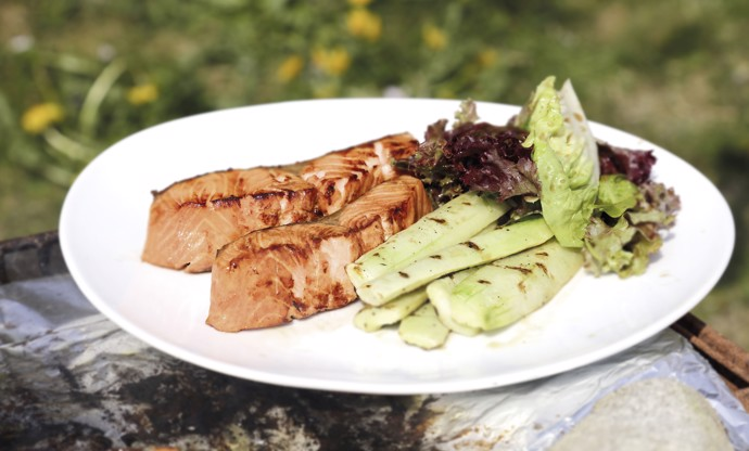Barbecued Fjort Trout fillets with cucumber