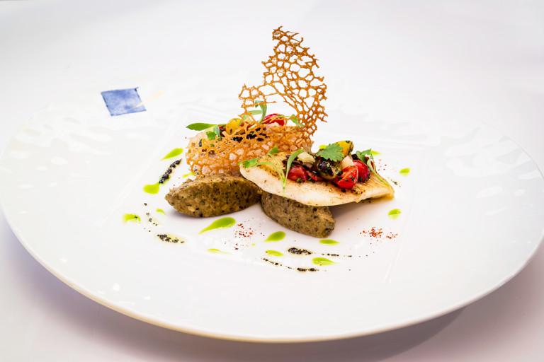 John Dory fillet with aubergine caviar and avocado oil