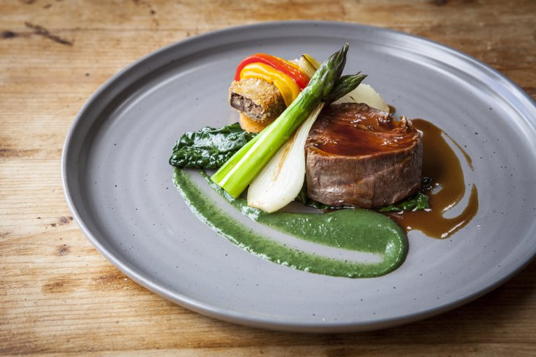 Fillet of beef with breaded ox cheek, sweet potato and peppers, nettle purée, sauce diable