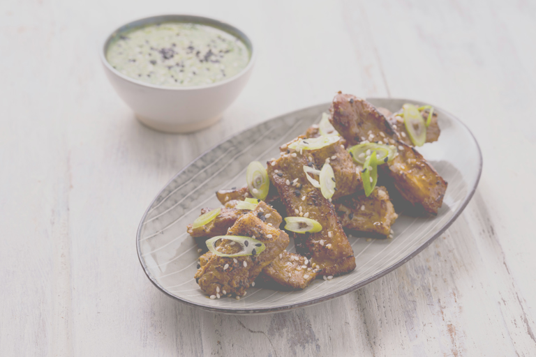 Sous vide lamb ribs with spicy green miso dipping sauce