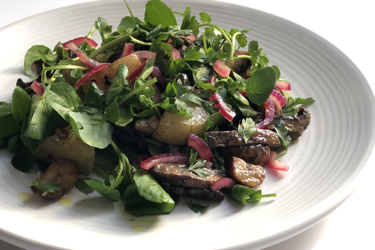 Miso roasted mushroom and chestnut salad with pickled red onion and watercress