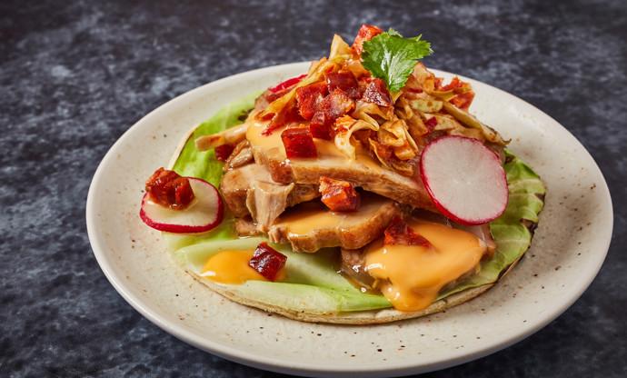 Pork belly and hispi cabbage tacos with chorizo mayonnaise and chorizo quick kimchi