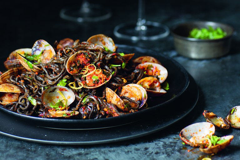 'Nduja and squid ink vongole