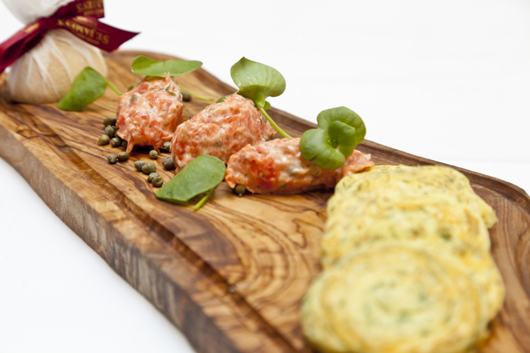 Alaska salmon rillettes with dill-scented potato pancakes, lemon and capers