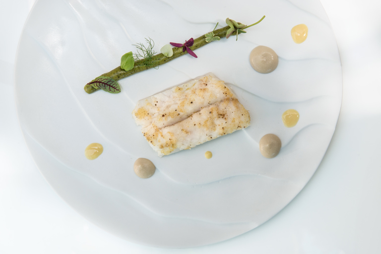 Turbot with herb and lemon frittata, lovage sauce