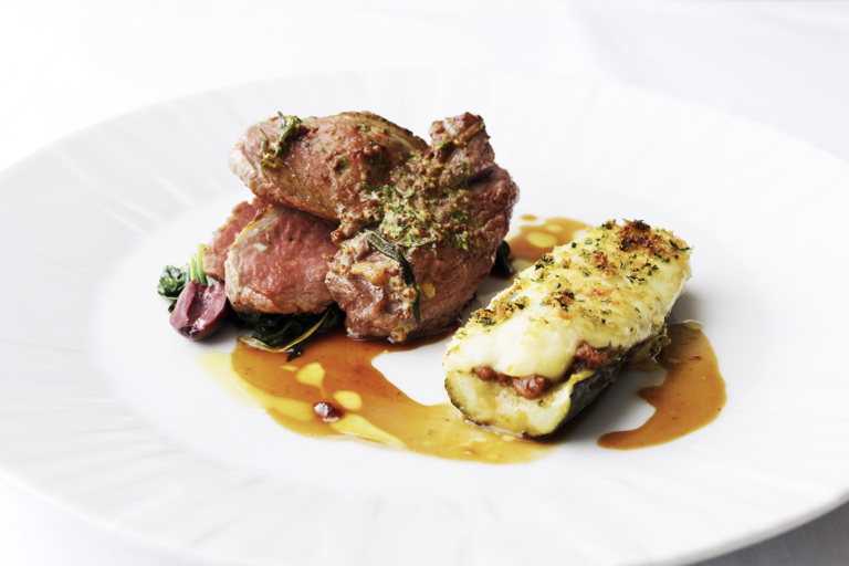 Rump of Welsh Lamb with courgette moussaka