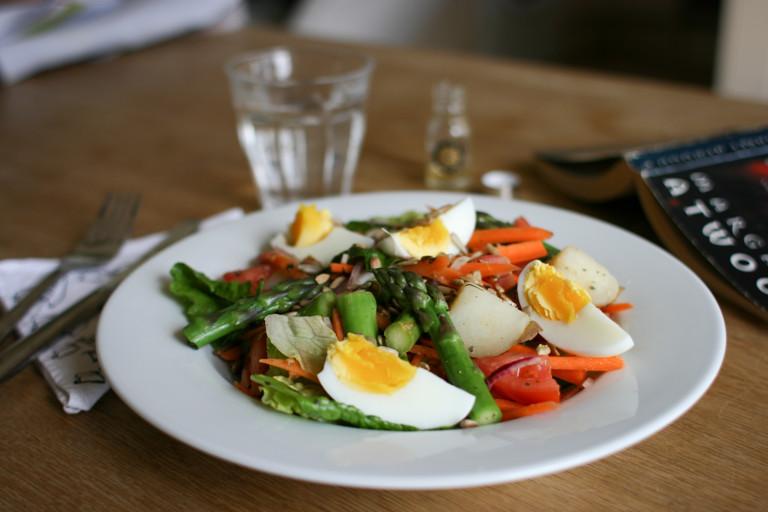 Asparagus, egg and potato salad with tarragon vinaigrette