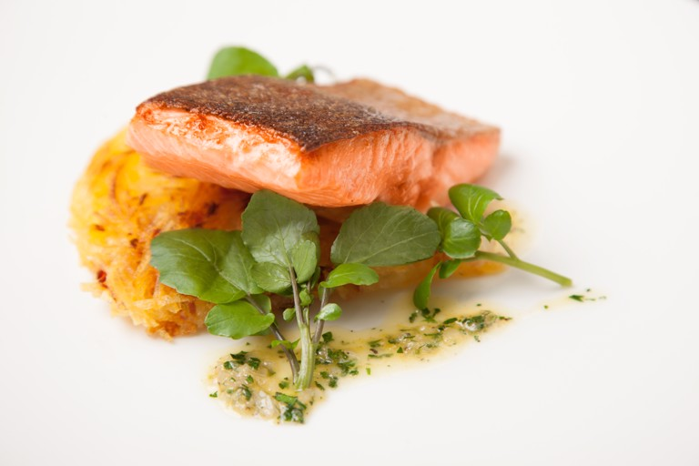 Pan-fried fjord trout with celeriac and pancetta galette