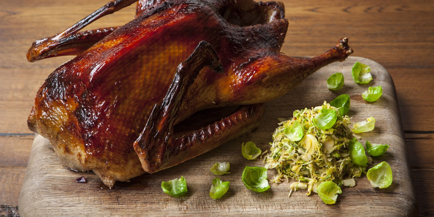 Oyster sauce-glazed goose with Brussels sprouts slaw