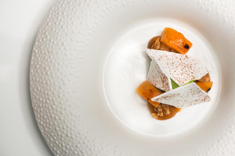 Apricots, mint ice cream and liquorice meringue