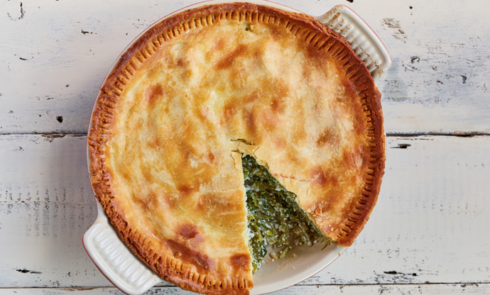 Runner bean and ricotta pie