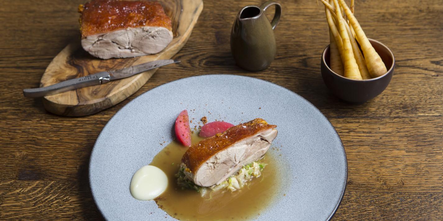 Pork shoulder with hispi cabbage and apples