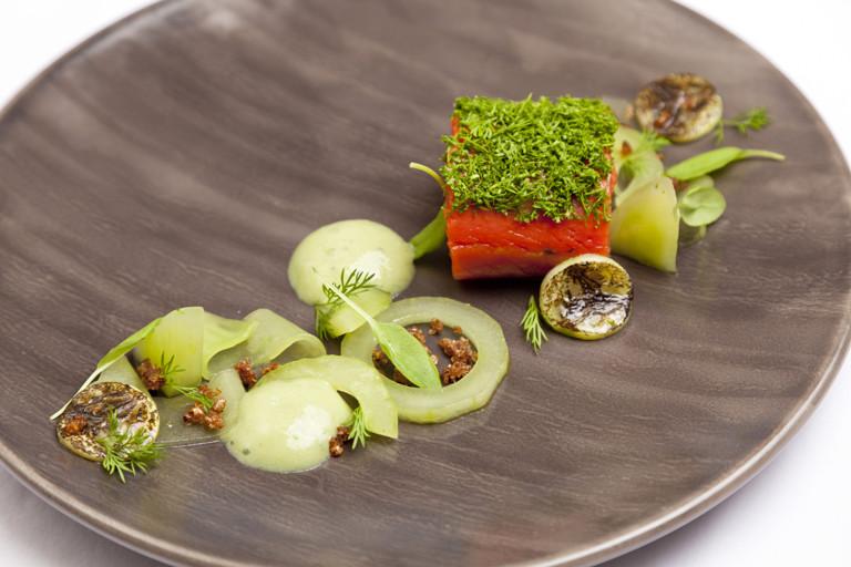 Gin-cured Alaska salmon with cucumber and wasabi emulsion