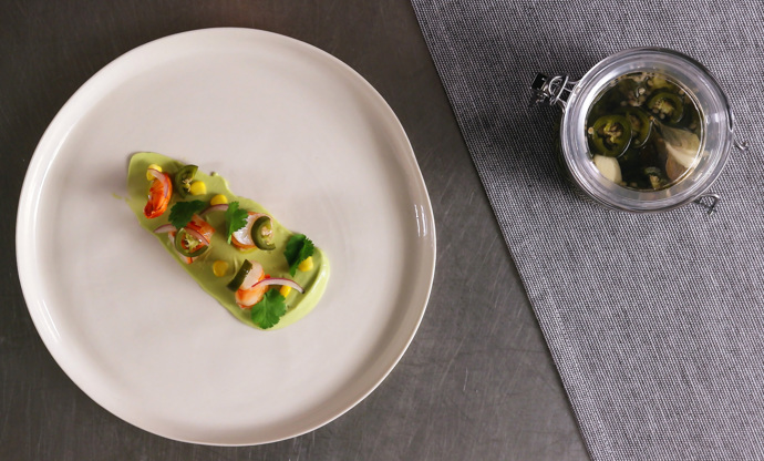 Prawn ceviche with pickled jalapenos