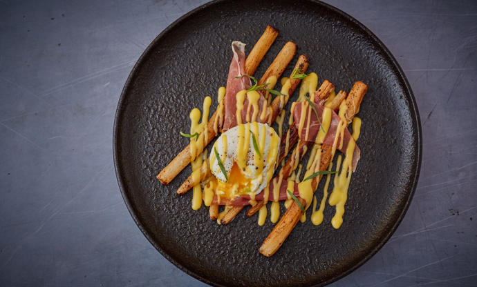 Roast salsify with parma ham and brown butter hollandaise