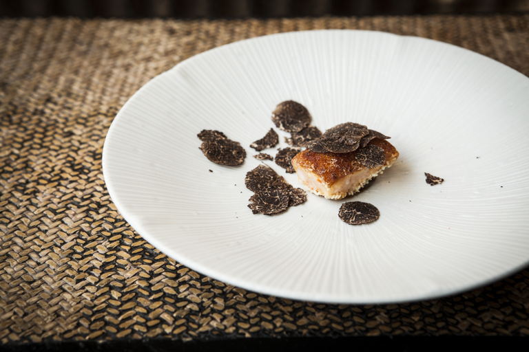 'The Cantonese Kitchen' – barbecued pork crackling with prawn, plum and truffle